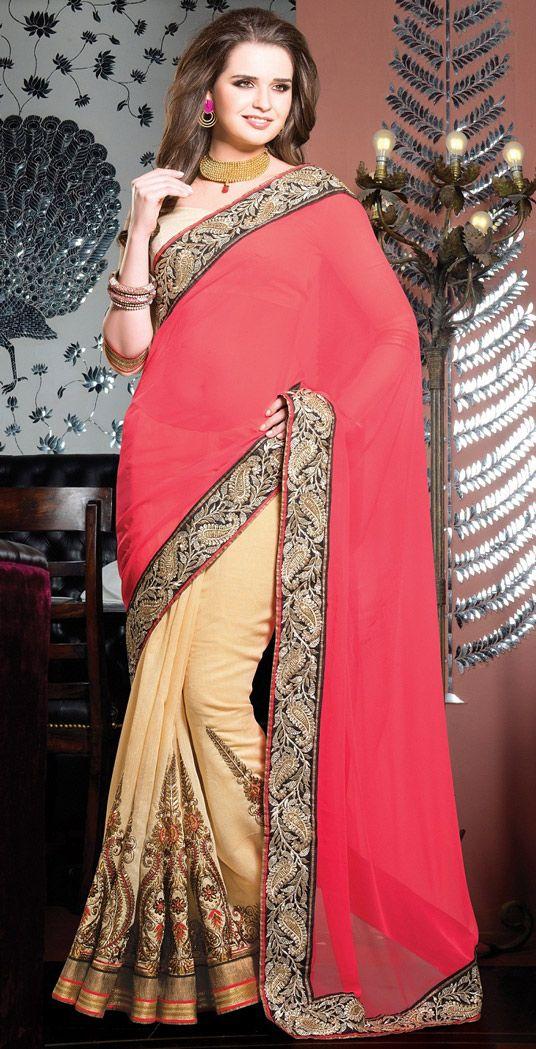 USD 63.77 Deep Pink Georgette Wedding Saree 44630