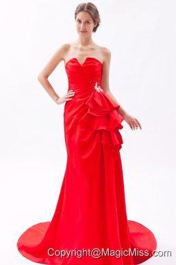 Red A-line / Princess Strapless Brush Train Satin Beading Prom Dress