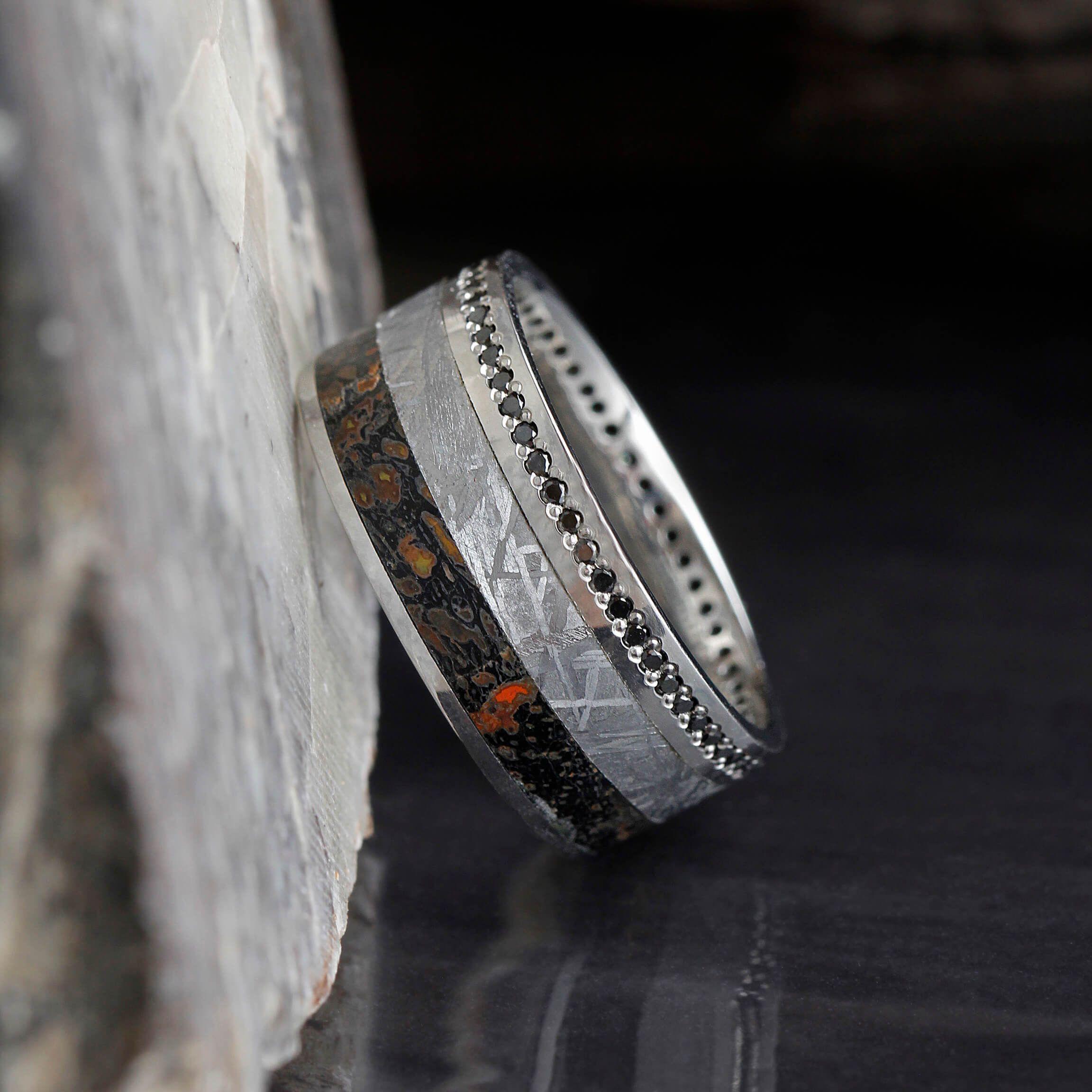 Black Diamond Eternity Ring with Dinosaur Bone and