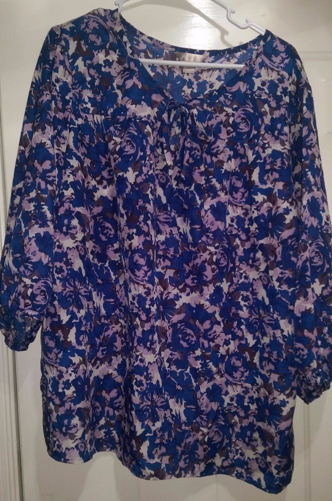 69f6941c074 White Stag Woman's Light/Dark Purple/Blue/White/Black Floral Shirt Size XXL  #WhiteStag #Blouse #Casual