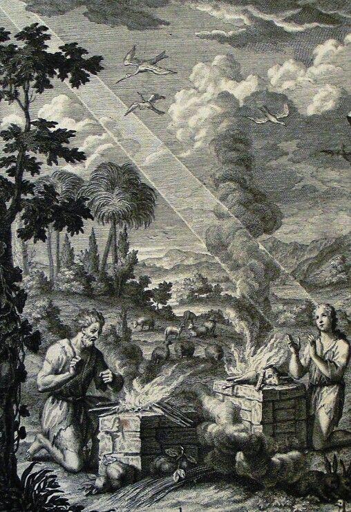 The Phillip Medhurst Picture Torah 32. Cain and Abel make an offering. Genesis cap 4 vv 3-7. Sperling