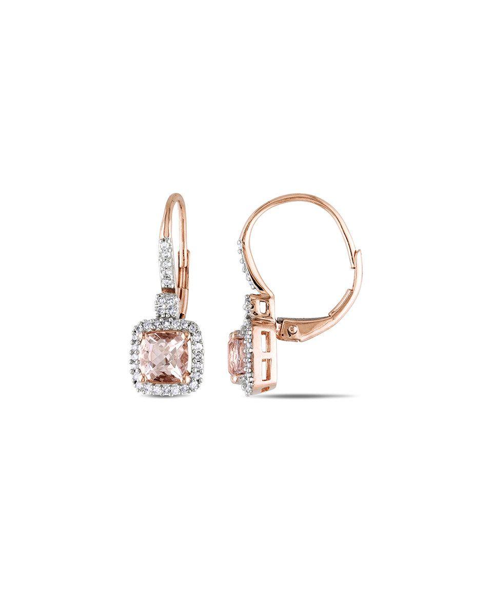 Morganite & Diamond Cushioncut Drop Earrings