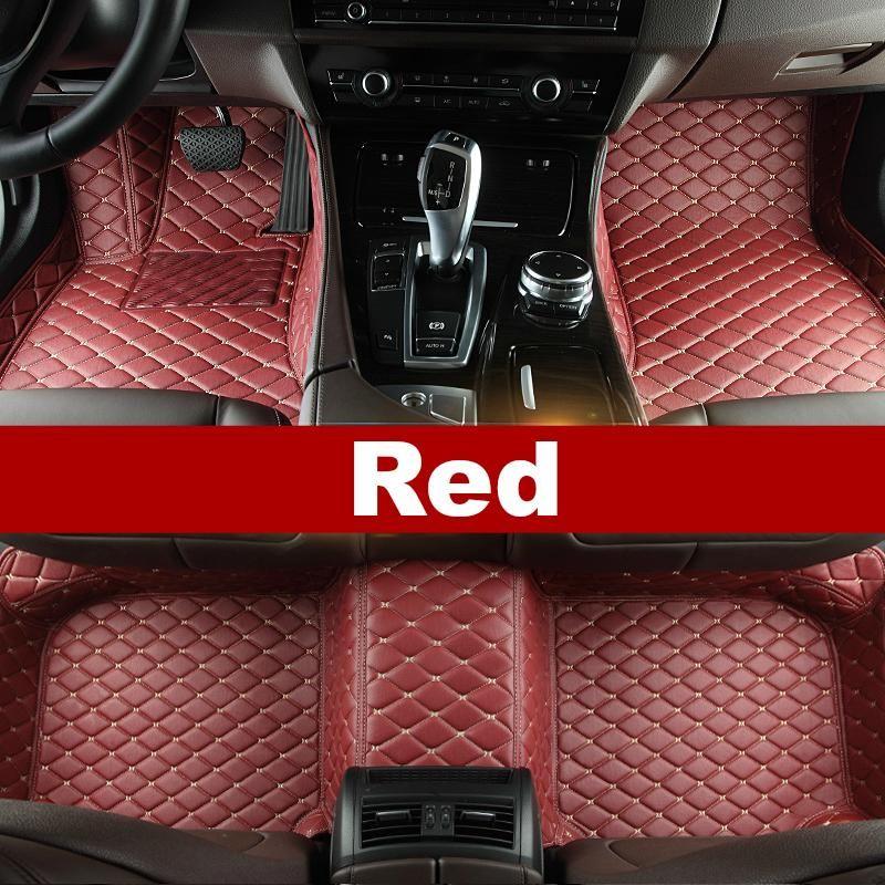 Luxury Diamond Stitched Floor Mats Red Alfa Romeo Full Set