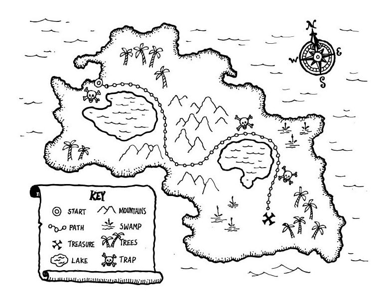 Kids Treasure Map Coloring Book Treasure Maps For Kids Pirate Treasure Maps Treasure Maps