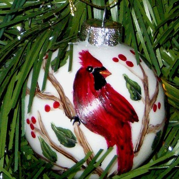 One Stroke Painting Christmas | ... on a Holly branch Glass Christmas Ornament by cfaskesenn, $14.00