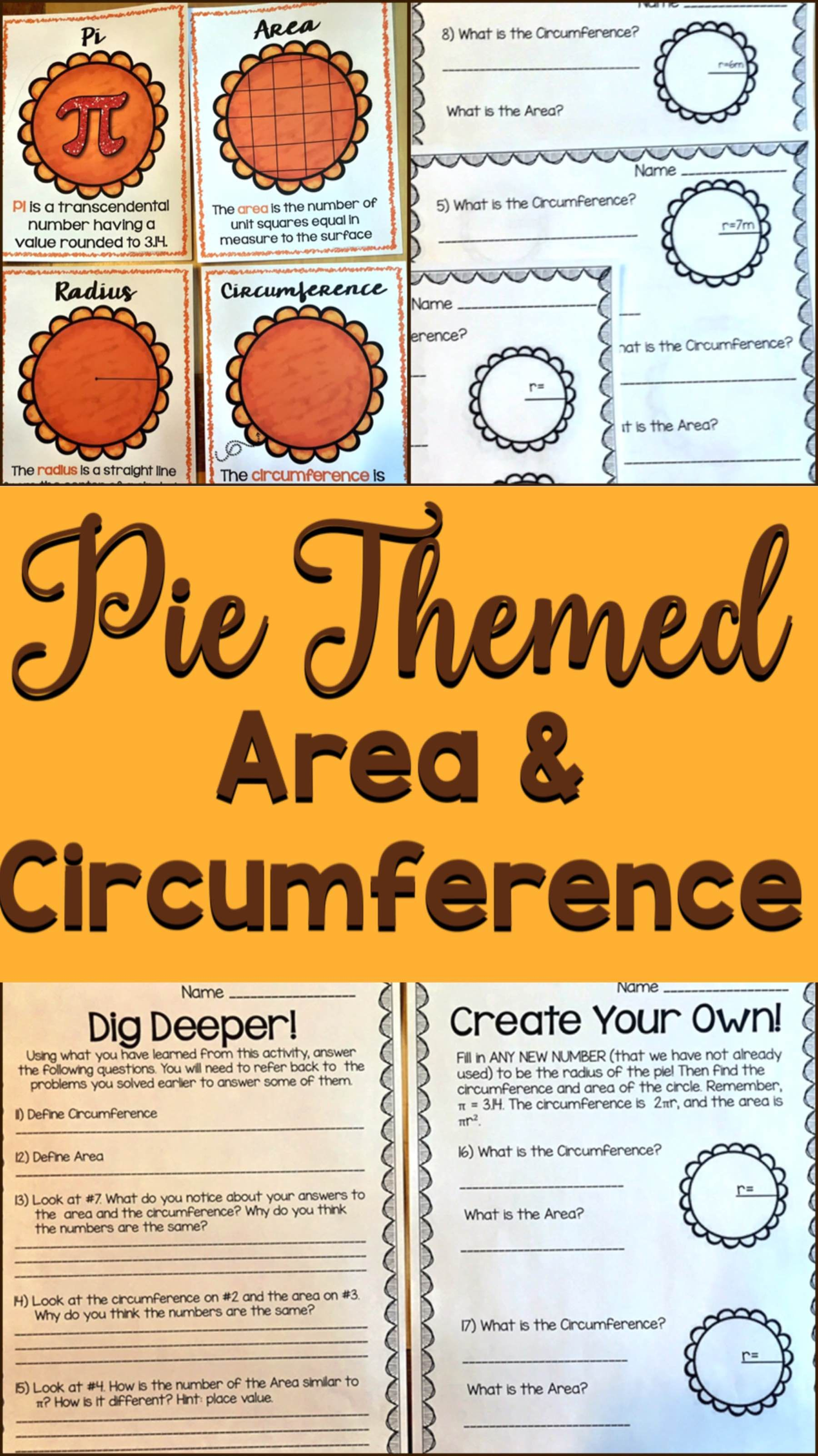 Pi Day Area And Circumference Worksheets Posters And