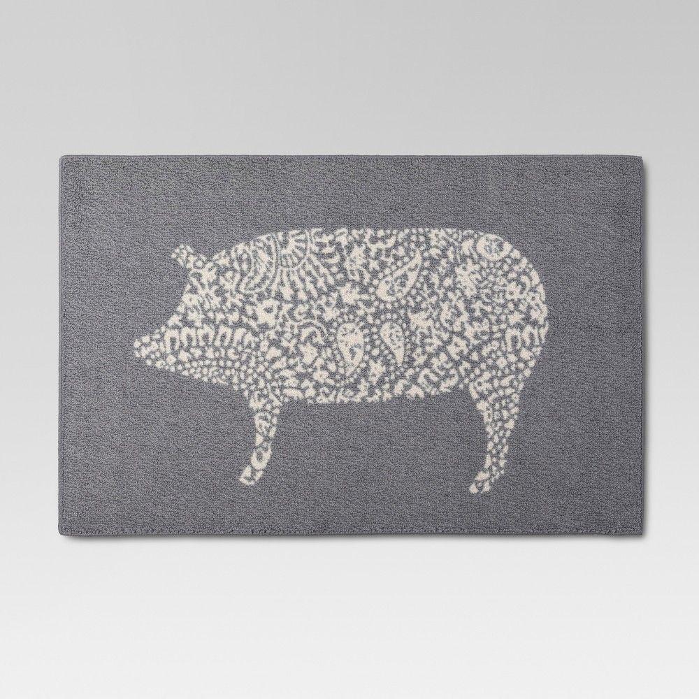 30 X46 Animal Icon Kitchen Mat Gray Threshold Pig Kitchen Decor Pig Kitchen Kitchen Rug