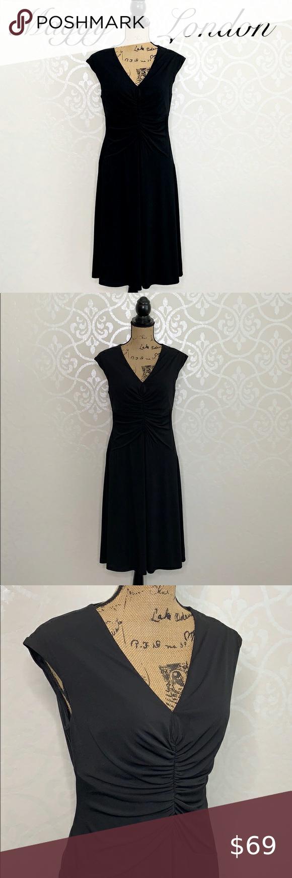 Maggy London Classic Black Dress Size 12 Classic Black Dress Cocktail Dress Lace Pleated Shift Dress [ 1740 x 580 Pixel ]