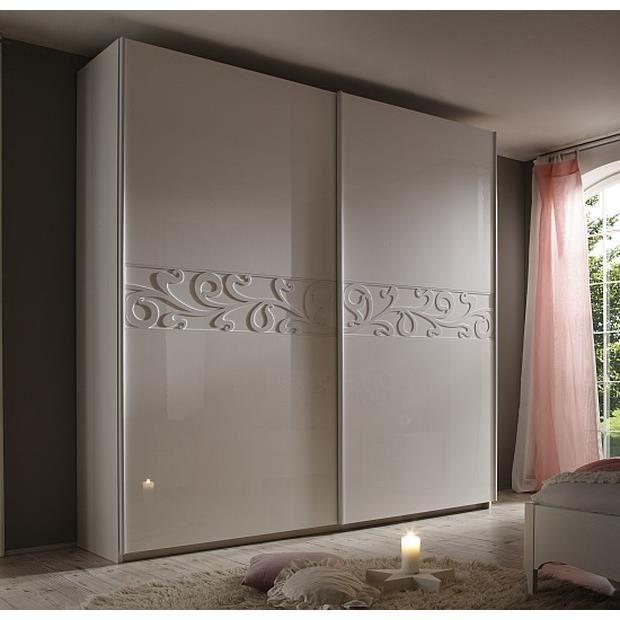 Armoire moderne porte coulissante laqu e blanche ambroise 240cm meu - Armoire porte coulissante blanche ...
