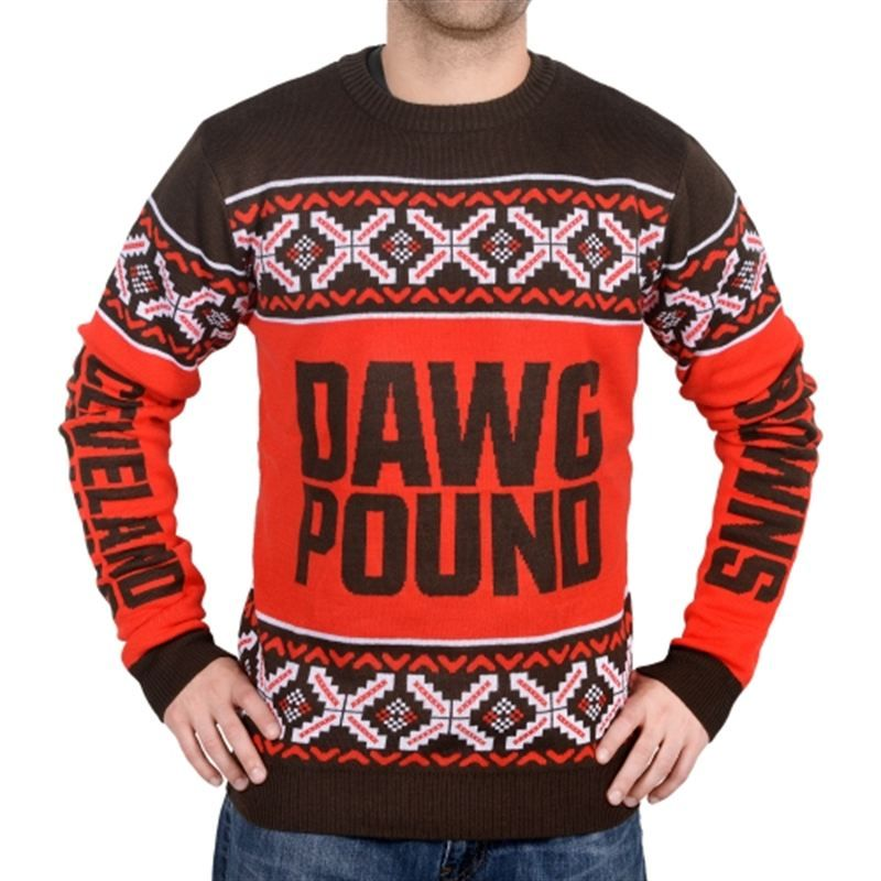 Discount Cleveland Browns Klew Unisex Slogan Crew Knit Ugly Sweater Brown  free shipping