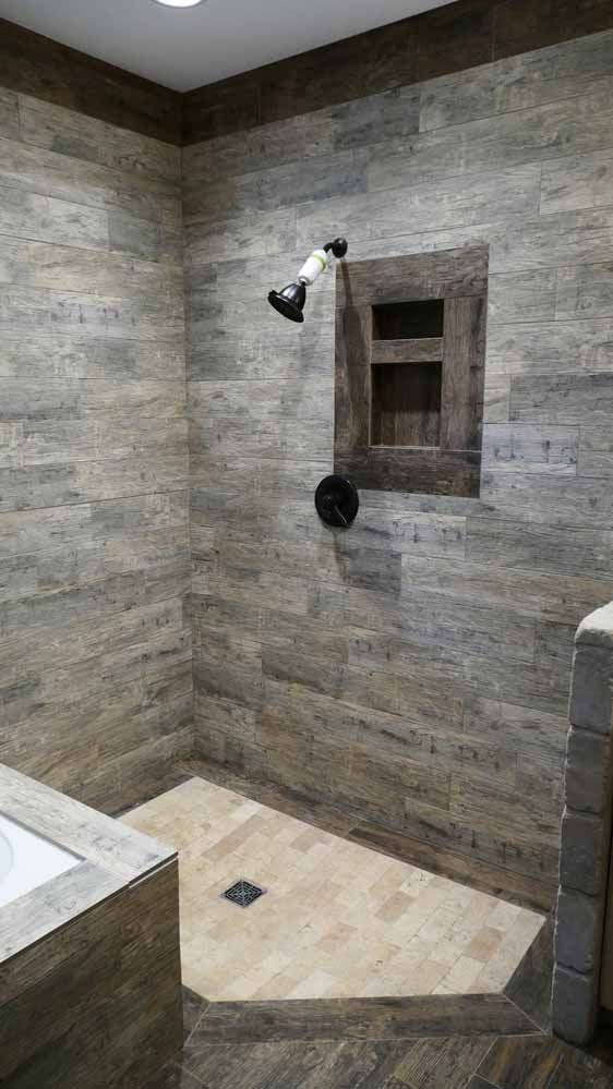 rustic walk in shower from nelson design group house plan: ndg 1429