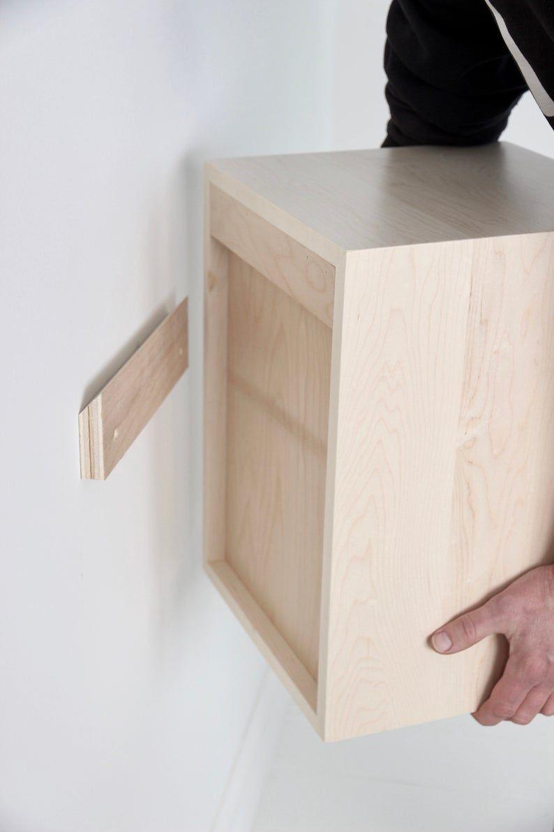 Schwimmende Nachttisch mit Schublade in solid Ahorn | Etsy