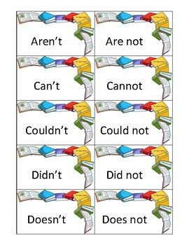 This Pdf File Includes49 Common Contraction Cards 98 Total Cards 12 Blank Cardsi Created These Cards So That I Flashcards White Business Card Learning Tools