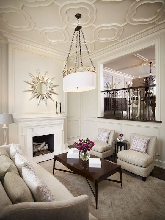 Living Room With Quatrefoil Pattern Ceiling Marble
