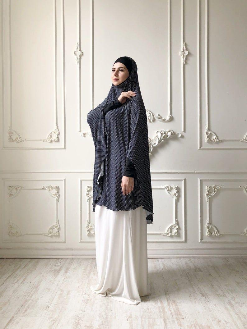 Transformer black and white Khimar polka dots jilbab hijab | Etsy -   17 beauty Dresses hijab ideas