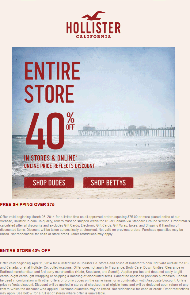 Pinned April 11th Everything Is 40 Off At Hollister Ditto Online Coupon Via The Coupons App Coupon Apps Coupons Freebies Coupons