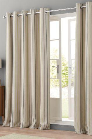 Buy Green Textured Woven Stripe Eyelet Curtains from the Next UK - vorhange wohnzimmer grun