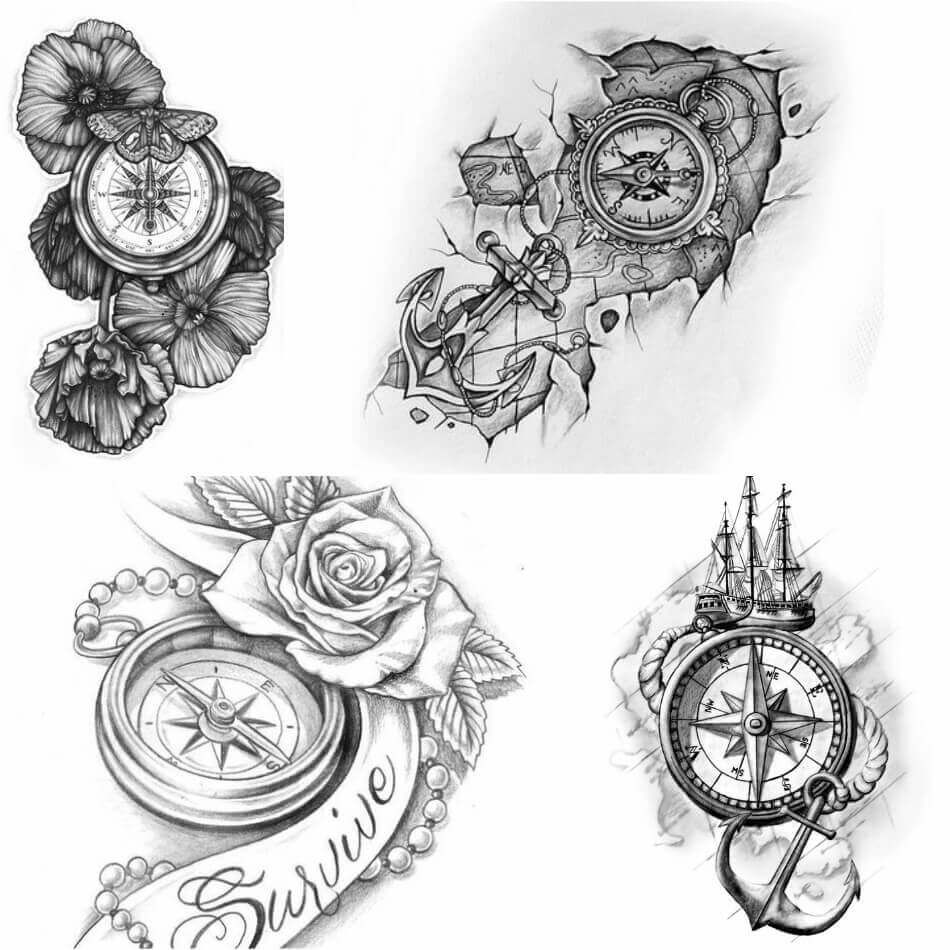 Compass Tattoo Designs Popular Ideas For Compass Tattoos With
