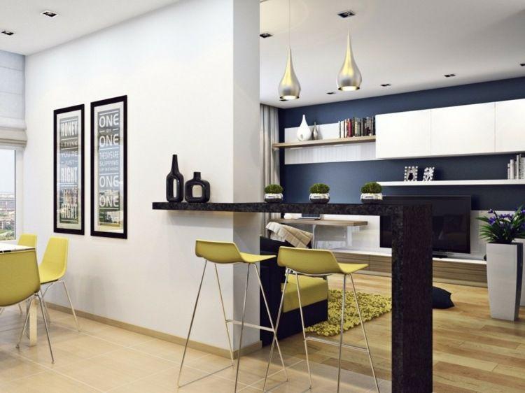 Schlichter Bartresen in Schwarz mit gelben Barstühlen Wohnzimmer - wohnzimmer gelb schwarz