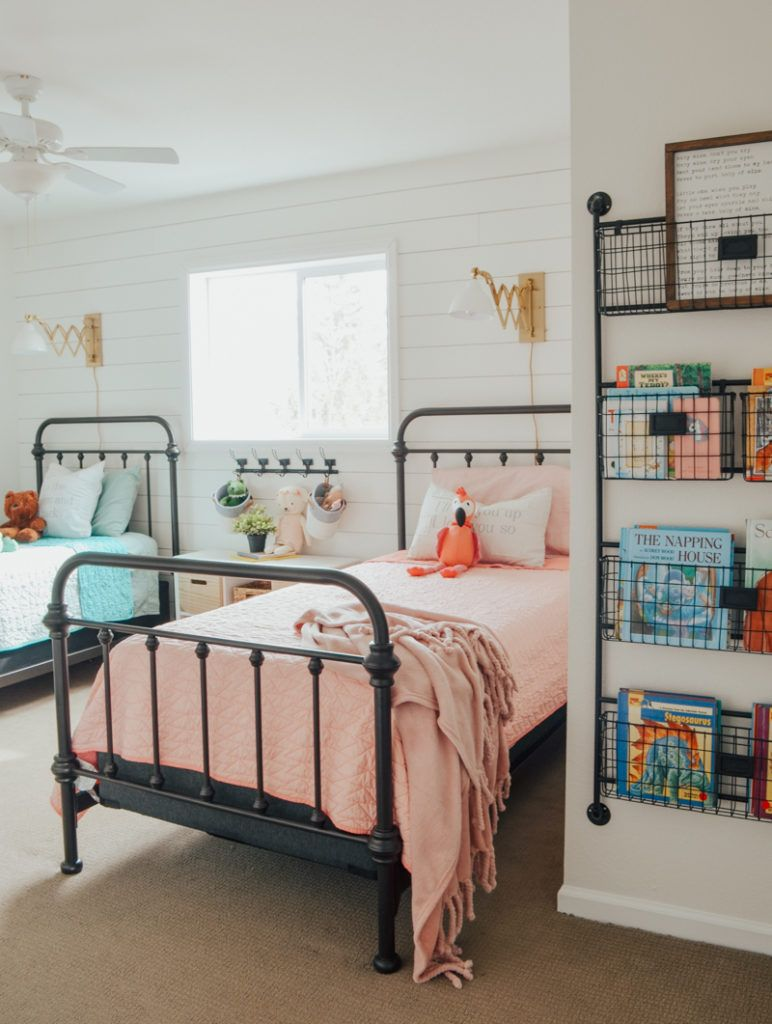 Cottage Style Kids Bedroom Reveal Kid S Bedroom Ideas With Shiplap Wall And Farmhouse Style Decor Bedroom Makeover Shared Girls Bedroom Shared Girls Room