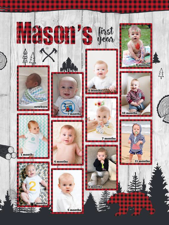 Lumberjack First 12 Months Collage 1st Birthday Photo Poster Etsy 1st Birthday Photos Birthday Photos Birthday Photo Collage