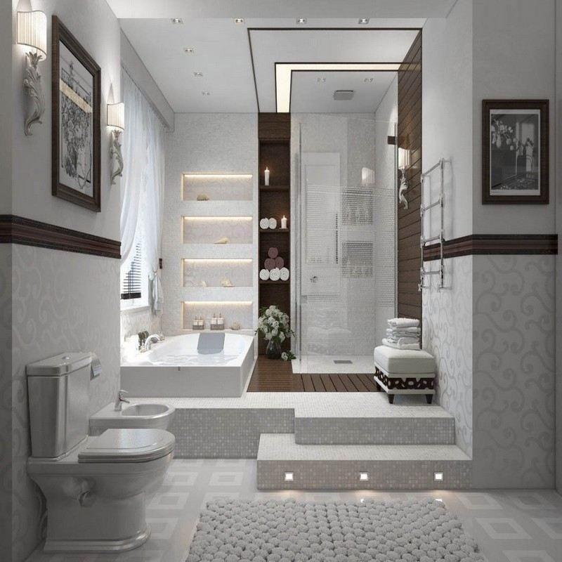 salle-bain-moderne-zen-baignoire-balneo-mosaique-cabine-douche salle ...