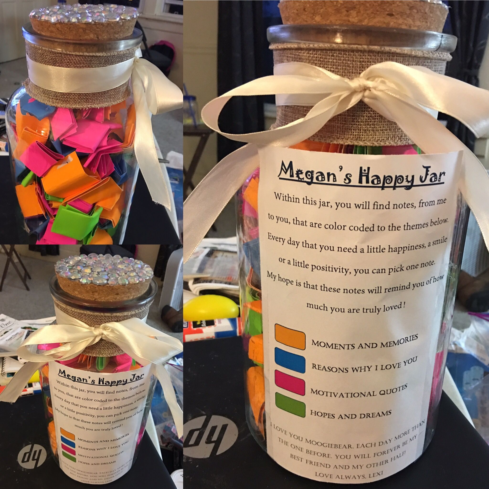 Personalized Note Jar I Made This Jar For My Best Friends 27th Birthday It Is Color Coded According To Each Cate Happy Jar Diy Gifts For Boyfriend Jar Gifts