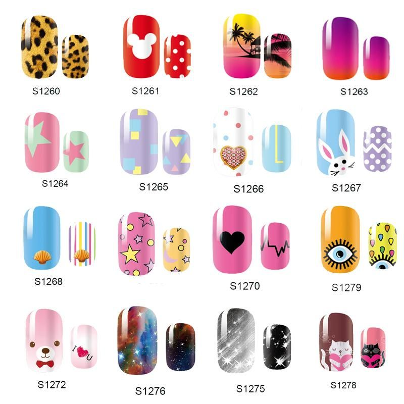 Visit to Buy] NEW Cute 14 Tips Self Adhensive Nail Wraps Full Cover ...