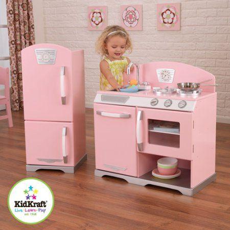 Kidkraft Pink Retro Wooden Play Kitchen And Refrigerator