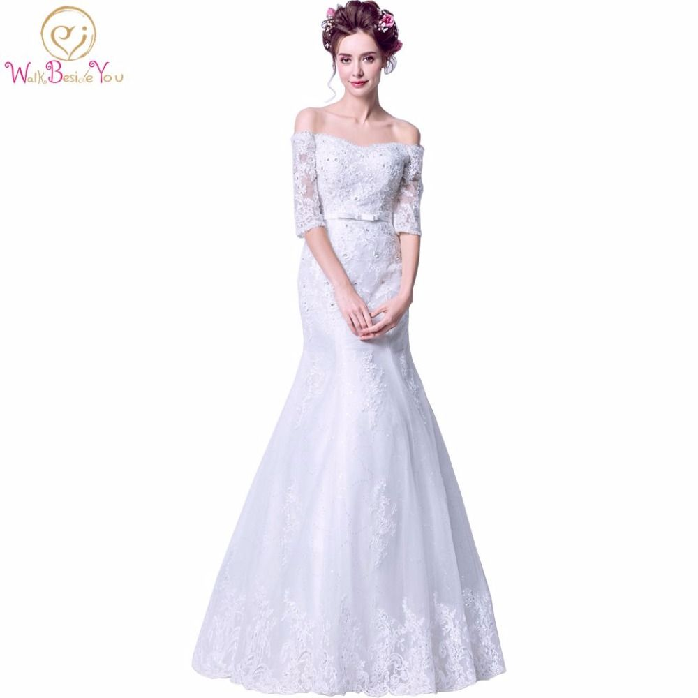 Walk beside you mermaid wedding dresses crystal with bow lace