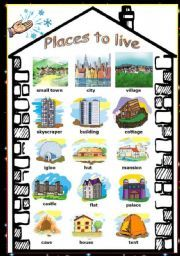 English worksheet Places to live / types of houses