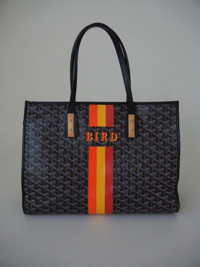 Goyard Black Marquises Sac A Main Tote Handbag Purse W Bamboo Stripe Bird