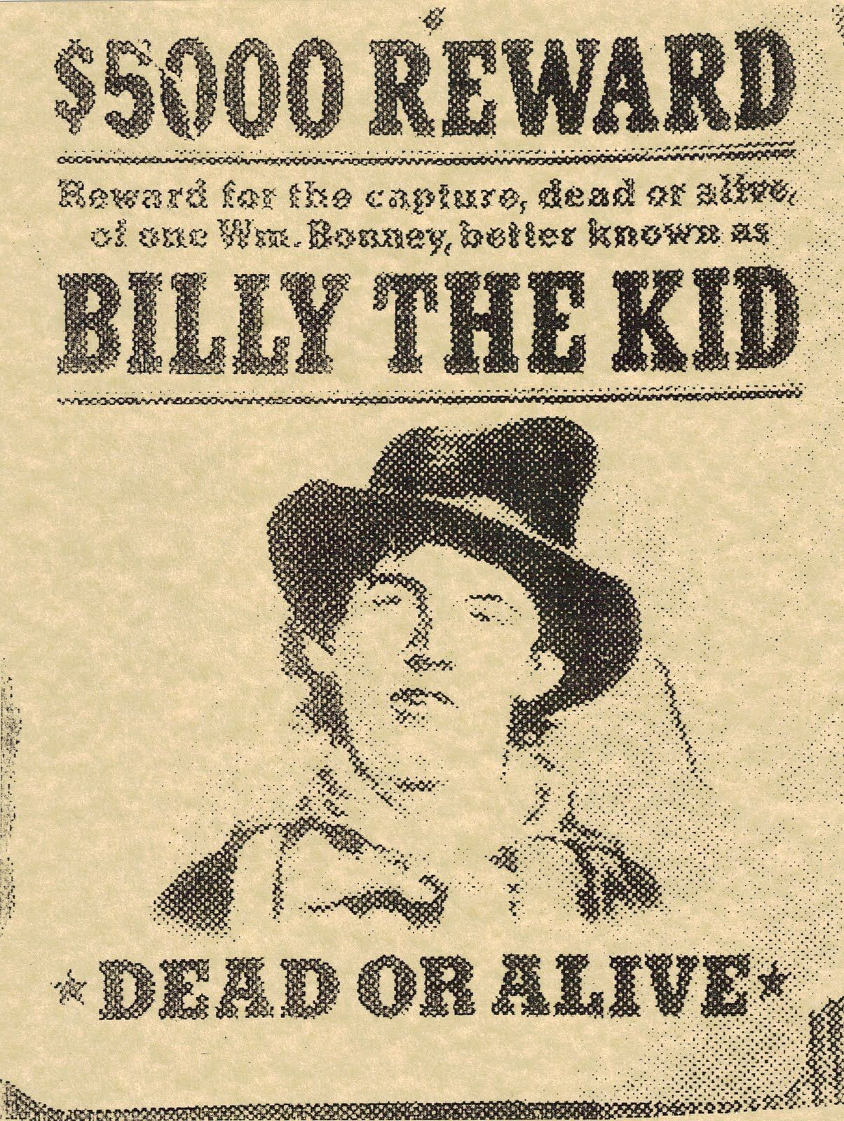 Billy The Kid Wanted Poster Cops and Crooks Pinterest – Real Wanted Posters