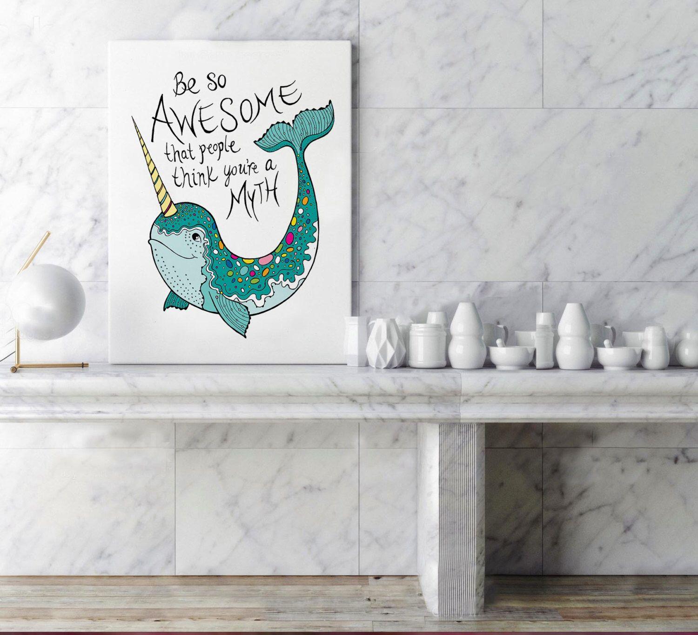 Narwhal, Bathroom, Narwhal gift, Nautical wall decor, nursery art ...