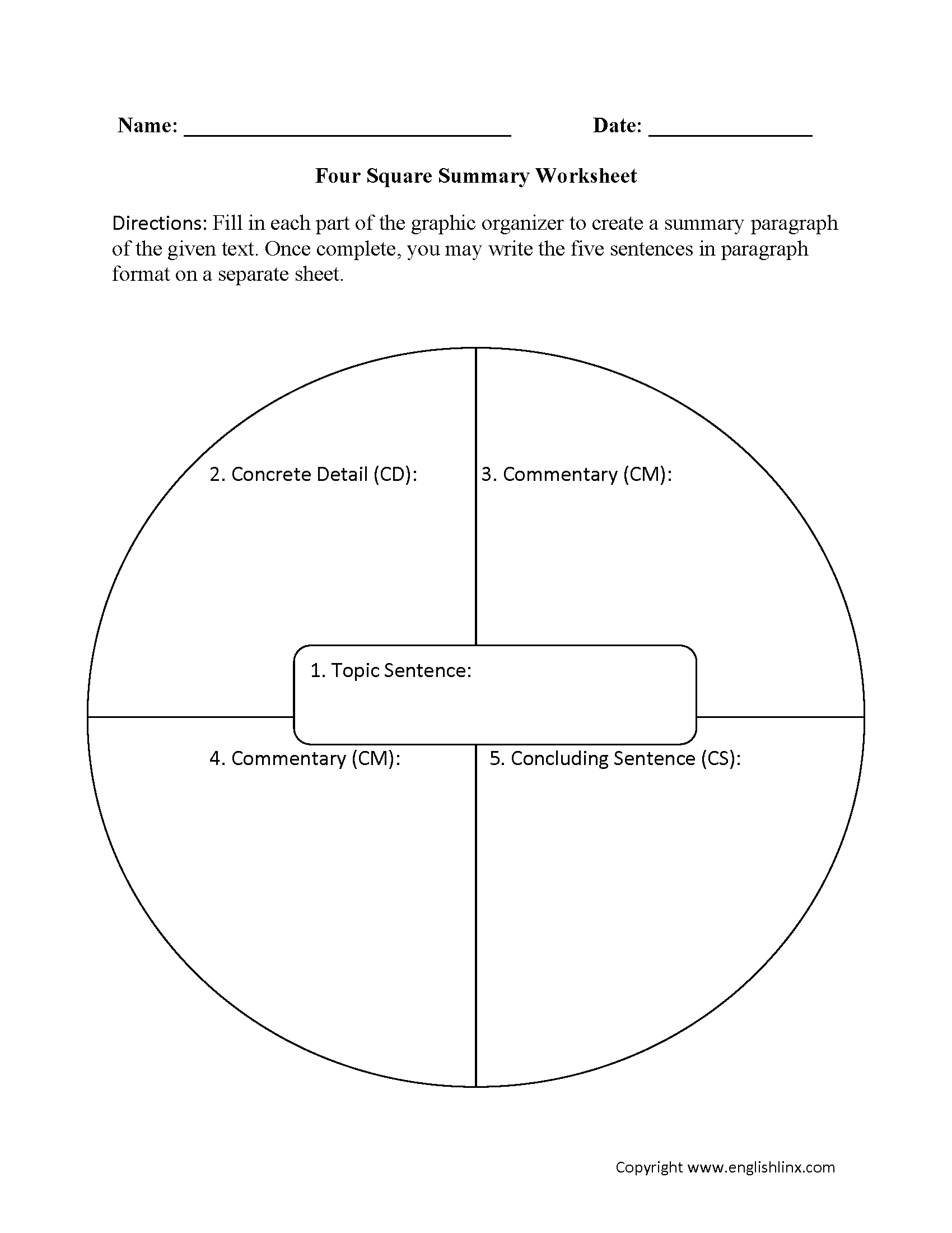 Four Square Summary Worksheet With Images