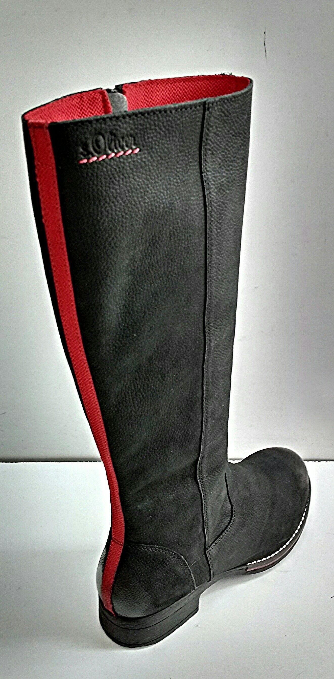 53607a41b6d Δερμάτινες γυναικείες μαύρες μπότες με κόκκινες λεπτομέρειες ...