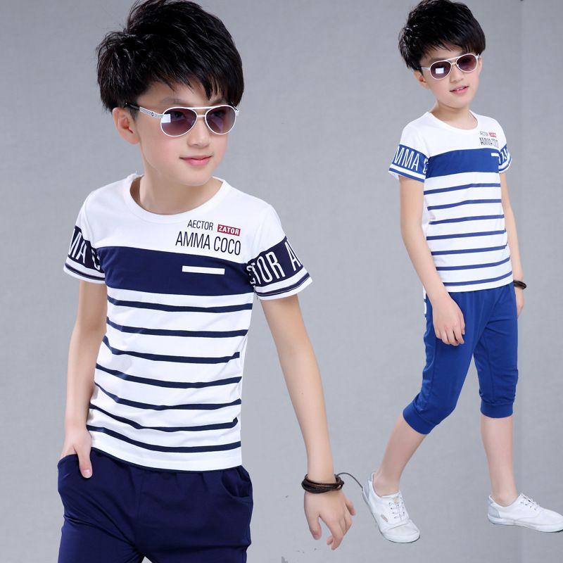 Fashion Baby Boy Clothes Set Stripes T-shirt Pants Cotton Outfits for Kids Child