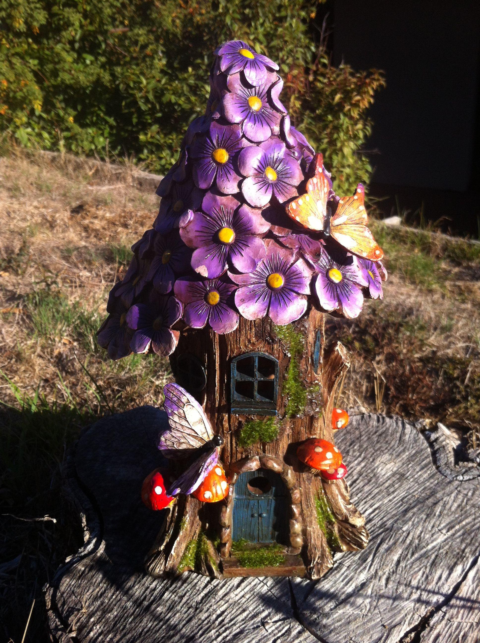 32cm solar powered purple flower fairy house fairy for Outdoor fairy doors australia