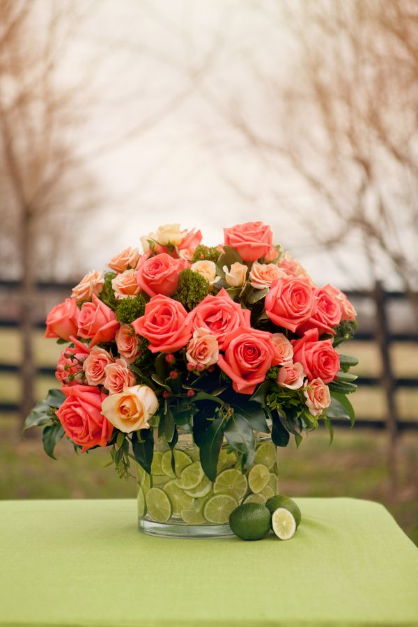 DIY Lime Vase and Coral Roses
