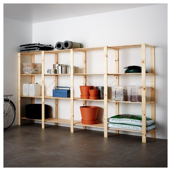 HEJNE 4 section shelving unit, softwood, 120 7/8x19 5/8x67 3/8 - IKEA