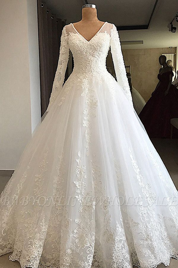 Gorgeous V Neck Long Sleeve Lace Wedding Dress Babyonlinedress White Princess Bridal Gowns Online Long Sleeve Wedding Dress Lace Ball Gowns Wedding A Line Bridal Gowns
