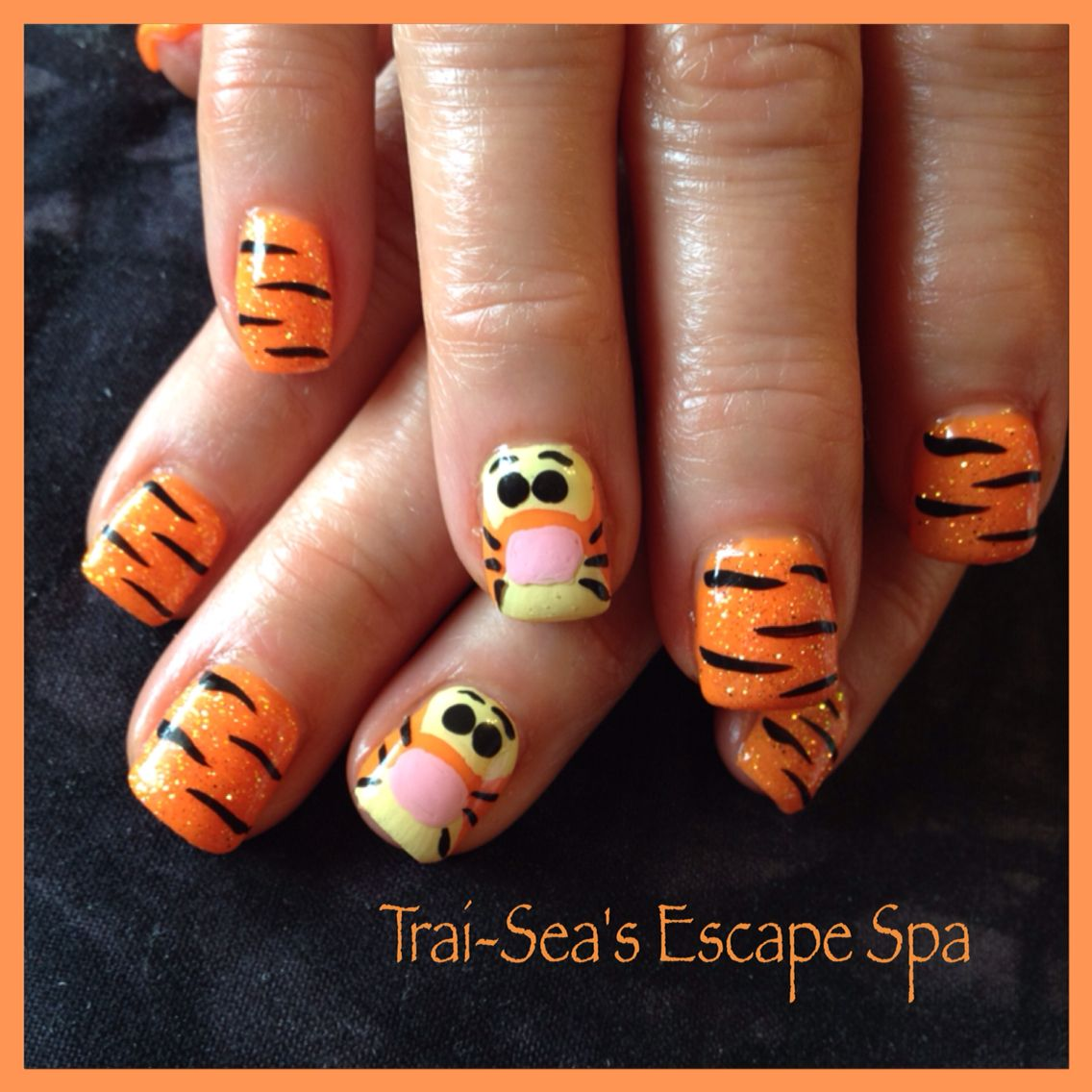 Tigger Nails: Hand Painted Tigger Nails By Trai-Sea's Escape Spa