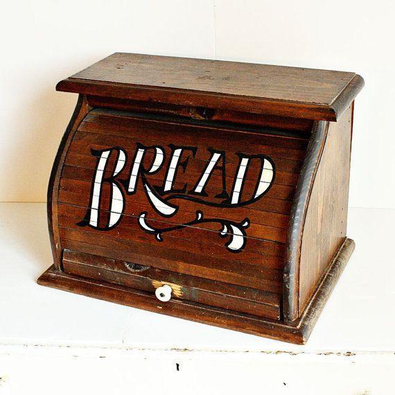 Vintage Bread Box Wood Roll Top For Diy Vintage Bread Boxes