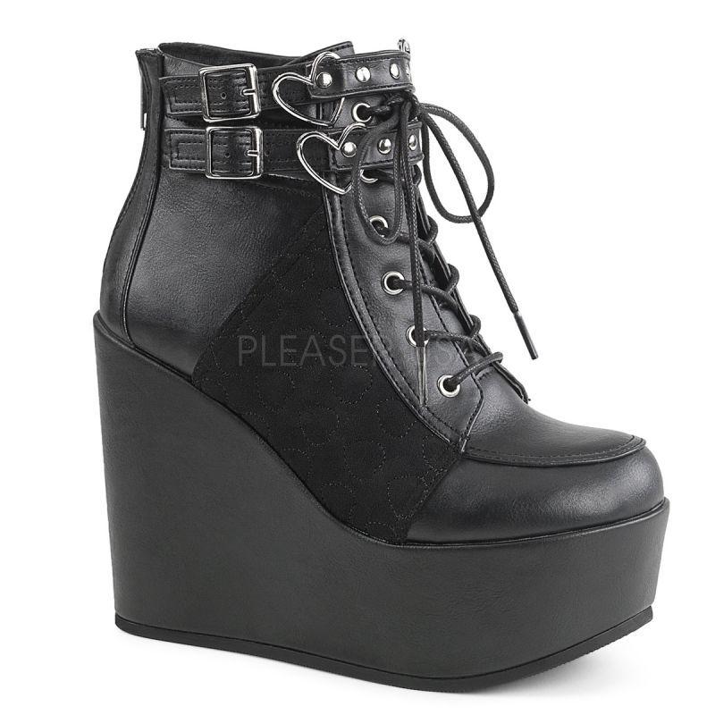 Mujer señoras de la Alta Botas De Plataforma Zapatillas Sneakers Retro Hi Top Cuña Punk Goth