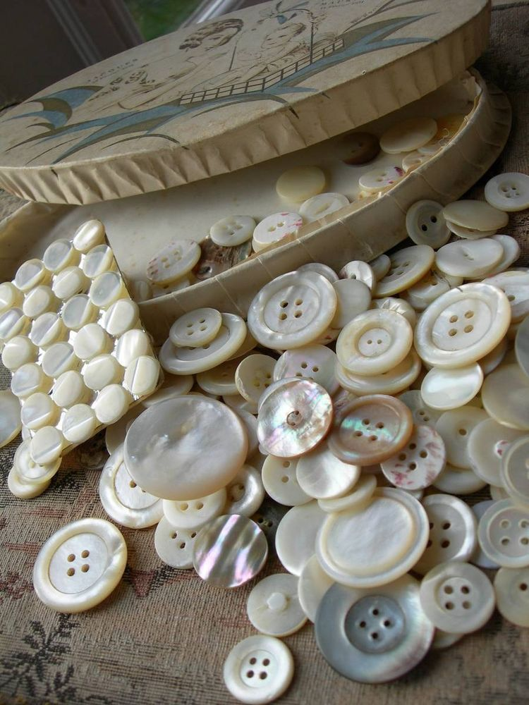 Fabulous French antique vintage box full of mother of pearl buttons