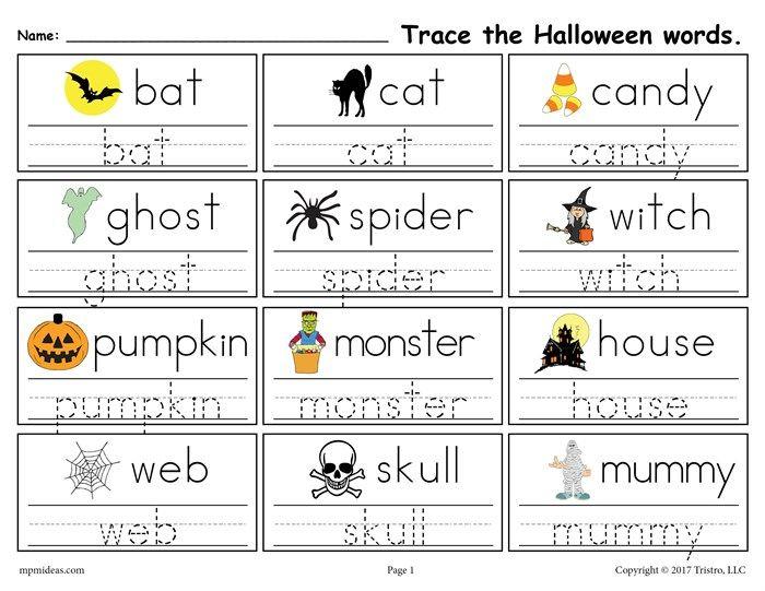 free printable halloween words tracing worksheet k activities halloween worksheets. Black Bedroom Furniture Sets. Home Design Ideas
