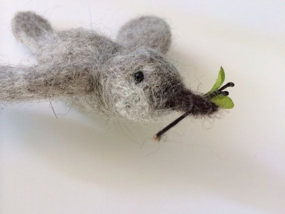 Needle felted bird gray peace dove by henryandmillie on Etsy, $27.00
