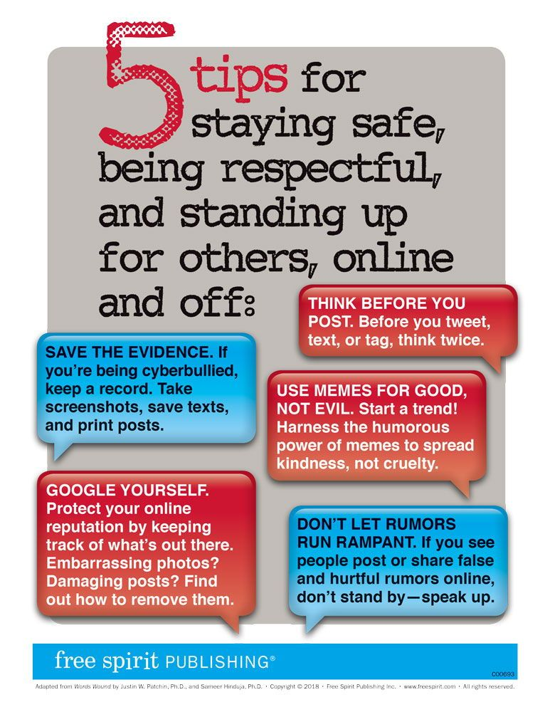 free classroom poster help students prevent cyberbullying with five