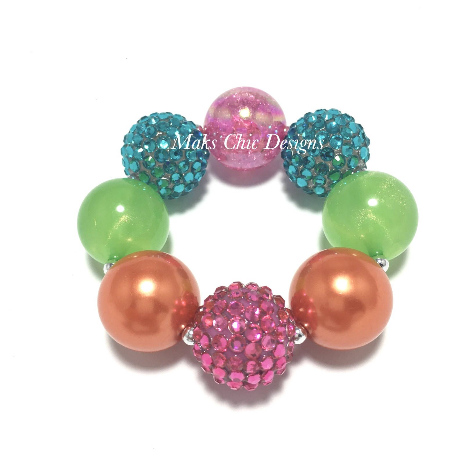 Toddler or girls tropical chunky bracelet hot pink orange lime
