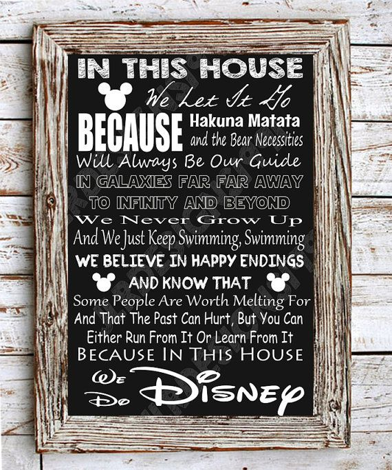 This Is A Cute Little In This House We Do Disney Poster Digital Download File Can Be Printed In Eithe In This House We Nursery Stickers Vinyl Wall Art Nursery